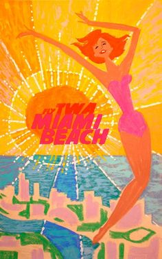 Vintage TWA Travel Poster by David Klein: Miami, Florida