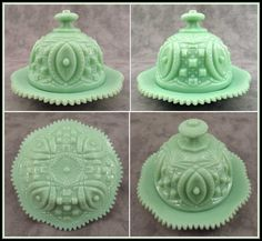 Image detail for -Jadeite Green Glass Large Round Domed Butter Dish Memphis Design ...