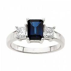 14k White Gold Emerald Cut Blue Sapphire & Diamond Ring