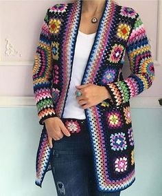 Gorgeous crochet granny square jackets are back on trend for Fall, and we've got all the best patterns and a video tutorial! Gorgeous crochet granny square jackets are back on trend for Fall, and we've got all the best patterns and a video tutorial! Pull Crochet, Gilet Crochet, Mode Crochet, Crochet Poncho, Crochet Baby, Diy Crochet, Crochet Jacket Pattern, Granny Square Crochet Pattern, Crochet Squares