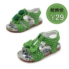 Child sandals polka dot bow cow muscle outsole fashion leather sandals female child children US $21.32