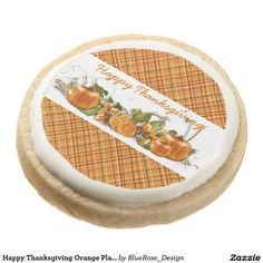 Shop Happy Thanksgiving Orange Plaid Cookies created by BlueRose_Design. Shortbread Cookies, Oreo Cookies, Square Cookies, Meringue Powder, Thanksgiving Treats, Cookie Gifts, Chocolate Covered Oreos, Corn Syrup, Royal Icing