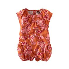 Your little surfer girl will love this 100% cotton romper, featuring capped sleeves and side pockets, and named for one of Bali's famous surfing beaches. Its unique look comes from its linoleum block print-inspired design that's as bold as it is stylish.
