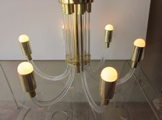 Dorothy  THORPE Hollywood Regency 6 arm LUCITE and BRASS  Chandelier Light Lamp mid century modern Charles Hollis Jones