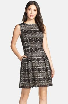 Vince+Camuto+Floral+Lace+Fit+&+Flare+Dress+available+at+#Nordstrom