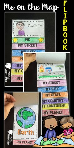 Me on the Map flipbook!  Map skills activities.  Perfect for 1st, 2nd and 3rd grade!