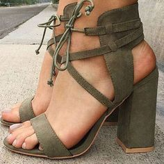 Shop Sandals - Army Green Lace-up Summer Chunky Heel PU Sandal online. Discover unique designers fashion at StyleWe.com.