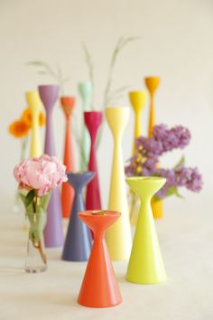 FREEMOVER.se - Scandinavian Happy MIdsummer Colors - Rolf™, Ester™ and Inga™ Wooden Candlesticks in New Mid-Century Modern Design by Maria Lovisa Dahlberg. 40 colors, Raw Oak and Certified Teak. Celebrating 10.