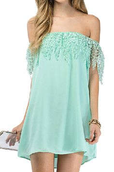 ROMWE Off-shoulder Lace Embellishment Light-green Dress