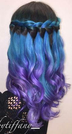 Black blue purple waterfall dyed braided hair color inspiration @_hairbytiffany_