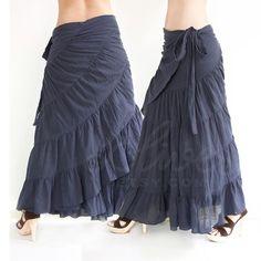 Tie Waist Cotton Maxi Wrap Skirt, Free Size, Plus Size Skirt in Dark Blue