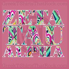 Zeta Tau Alpha.  Print Letters. Buy your sorority bid day, recruitment, and fraternity rush shirts with GreekT-ShirtsThatRock today! (800) 644-3066 #GTTR
