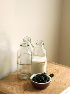 vintage glass milk bottles from cottagefarm