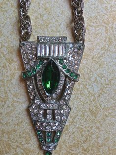 Gorgeous green vintage brooch necklace by JNPVintageJewelry, $145.00