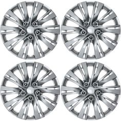 4 PC Set SILVER /LACQUER Hub Caps FITS 16