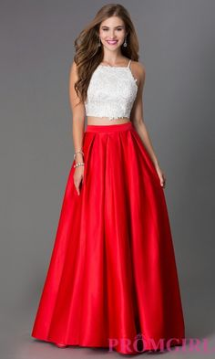 Cute rose red prom dress with 2 piece white on the top and found on promgirl.com