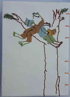 Handmade notebook, based on the wonderful illustrations by Arnold Lobel. Original embroidery and paper collage. 42 sheets (84 pages). Lined paper, 140 g. Size: 10*14 cm. Coptic stitch- with 6 needles.