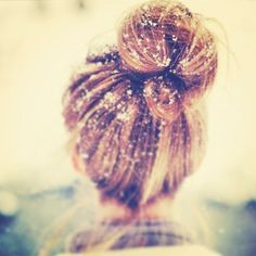 Topknots work all year round. Toss on a pair of earmuffs and you have a perfect winter look!