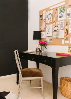 "Sneak Peek: A Chicago Apartment with a Sartorial Approach. ""I painted one wall in my office with chalkboard paint so I can keep track of my daily to-do list. The vintage metal faux bamboo chair was purchased at Jayson Home."" #sneakpeek"