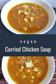 If you love Indian curry like I do, you'll love this vegan Curried Chicken Soup! It's spicy, delicious, and perfect for soup season! # vegan #veganrecipe #vegansoup #MeatlessMonday