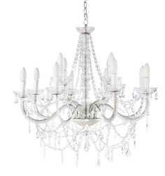 Aged-Effect White Metal Drop Bead Chandelier Branch Chandelier, White Chandelier, Beaded Chandelier, Chandelier Lighting, Chandeliers, Elegante Designs, Lustre Metal, Branches, Dinner Room