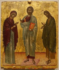 File:Deesis, Christ between Mary and John the Baptist, Crete, Late Byzantine, early tempera and gold leaf on wood panel - Princeton University Art Museum - Monastery Icons, Jesus Christ Images, Byzantine Art, John The Baptist, Orthodox Icons, Sacred Art, Christian Art, Crete, Wood Paneling