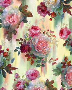 Rosewater - Watercolor Dipped Roses - Quilt Fabrics from www.eQuilter.com