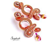 Long earrings. Soutache earrings. Statement earrings. Summer | Etsy Soutache Pendant, Soutache Earrings, Inspirational Jewelry, Shibori, Statement Earrings, Fractals, Jewerly, Bead, Design Inspiration