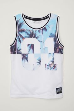 H&M Basketball Jersey - White/palm trees - Kids Boys Summer Outfits, Baby Boy Outfits, Cool Outfits, Jersey Shirt, T Shirt, Basketball Jersey, Basketball Outfits, Men's Swimsuits, Best Tank Tops