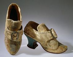 Shoes, 1770, Portugal. Lavrada polychrome silk and silver buckle with paste brilliants