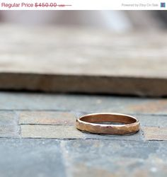SAVE 20% NOW Unique Wedding Band  hammered 18k gold by tinahdee