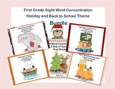 Bundle of First Grade Sight Word Printable Concentration Games- Holiday Themes from Mrs. Mc's Shop on TeachersNotebook.com -  - This bundle offers a fun way for your first grade students to practice their sight words through the school year. This collection of games can be used as part of a center, in small groups for practice, or by one student.   There are ten sets of cards usin
