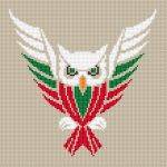 Flying owl colored in red, white and green.