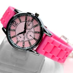 FW820E Új Pink Dial PNP Shiny Silver Watchcase Szilikon Pink zenekar Fashion Watch