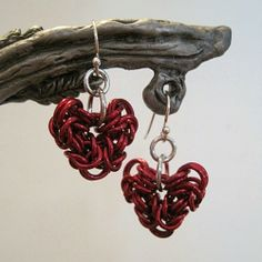 Red #Byzantine #Chainmaille #Heart #Earrings | SLSCreations - Jewelry on ArtFire