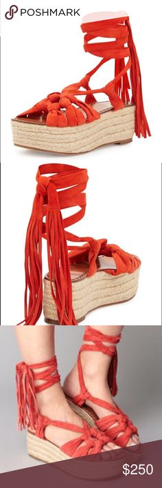 NWB SIGERSON MORRISON Wedges Espadrille Sandals Adorable orange platform sandals by sigerson morrison. Chic wrap- around style lifted by espadrille platform. Suede upper. Leather lining. Siegerson Morrison Shoes Platforms