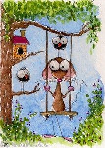ACEO Original painting Folk Art Whimsical mouse crow bird house garden swing