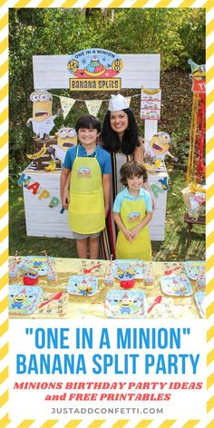 "Welcome to our ""One in a Minion"" Banana Split stand! This Minions Birthday Party is so much fun! Full of Minions birthday party ideas, DIY party decorations, free printables"