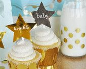 Prince Baby Shower Decorations - Little Prince Baby Shower Favors - Star Favor Stickers - Twinkle Little Star Birthday (EB3059) set of 24