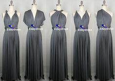 Bridesmaid Dress Dark Gray Charcoal Grey Floor by Dresslongbridal