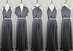 Babe check these out!  Bridesmaid Dress Dark Gray Charcoal Grey Floor Length Wrap Convertible Multi Ways Twist Infinity Dress