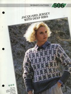 506 Creative Knitting Woman's Pattern 506 : Jacquard Jersey with Deep Ribs Pamphlet – 1986 Creative Knitting, Ribs, The Row, Two By Two, Men Sweater, Deep, Pattern, Sweaters, Color