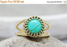 25% OFF SALE turquoise ring gold ringdelicate by AnemoneJewelry