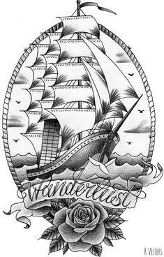 Old school ship tattoo design Old School Schiff Tattoo-Design Ship Tattoo Sleeves, Sleeve Tattoos, Gun Tattoos, Tattoo Barco, Traditional Ship Tattoo, Traditional Anchor Tattoo, Anker Tattoo Design, Tatuagem Old Scholl, Tattoo Perna