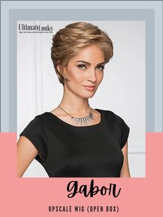Upscale Wig by Gabor.. Offering generous length in the front and crown, and all over tapered layers that blend to an extended nape, this classic short cut includes a Upscale Hand-Knotted Monofilament Part for varied parting options and a Lace Front/Mono Part Construction. #hairstyles #hairdo #hairoftheday #styleinspo #styles #styleoftheday