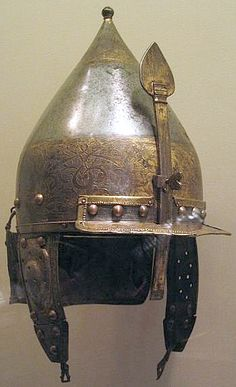 An Ottoman chichak, a type of helmet (migfer) originally worn in the 15th-16th century by cavalry (sipahi) of the Ottoman Empire, consisting of a rounded bowl with ear flaps, a peak with a sliding nose guard passing through the peak, and an extension in the back to protect the neck. Various other countries used their own versions of the chichak including Mughal India, in Europe the zischagge helmet was a Germanisation of the original Turkish name.