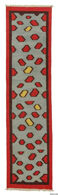 New Turkish Kilim Runner Rug hand-woven in Turkey with vegetable-dyed and hand-spun wool.
