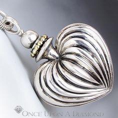 "Vintage Caviar Fluted Heart Perfume Bottle Pendant Necklace Sterling 18K 34""   eBay"