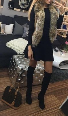 #fall #fashion ·  Fur Scarf + Black Dress & Knee Length Boots