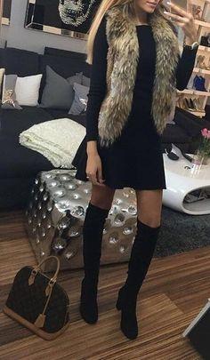 Fur Scarf   Black Dress